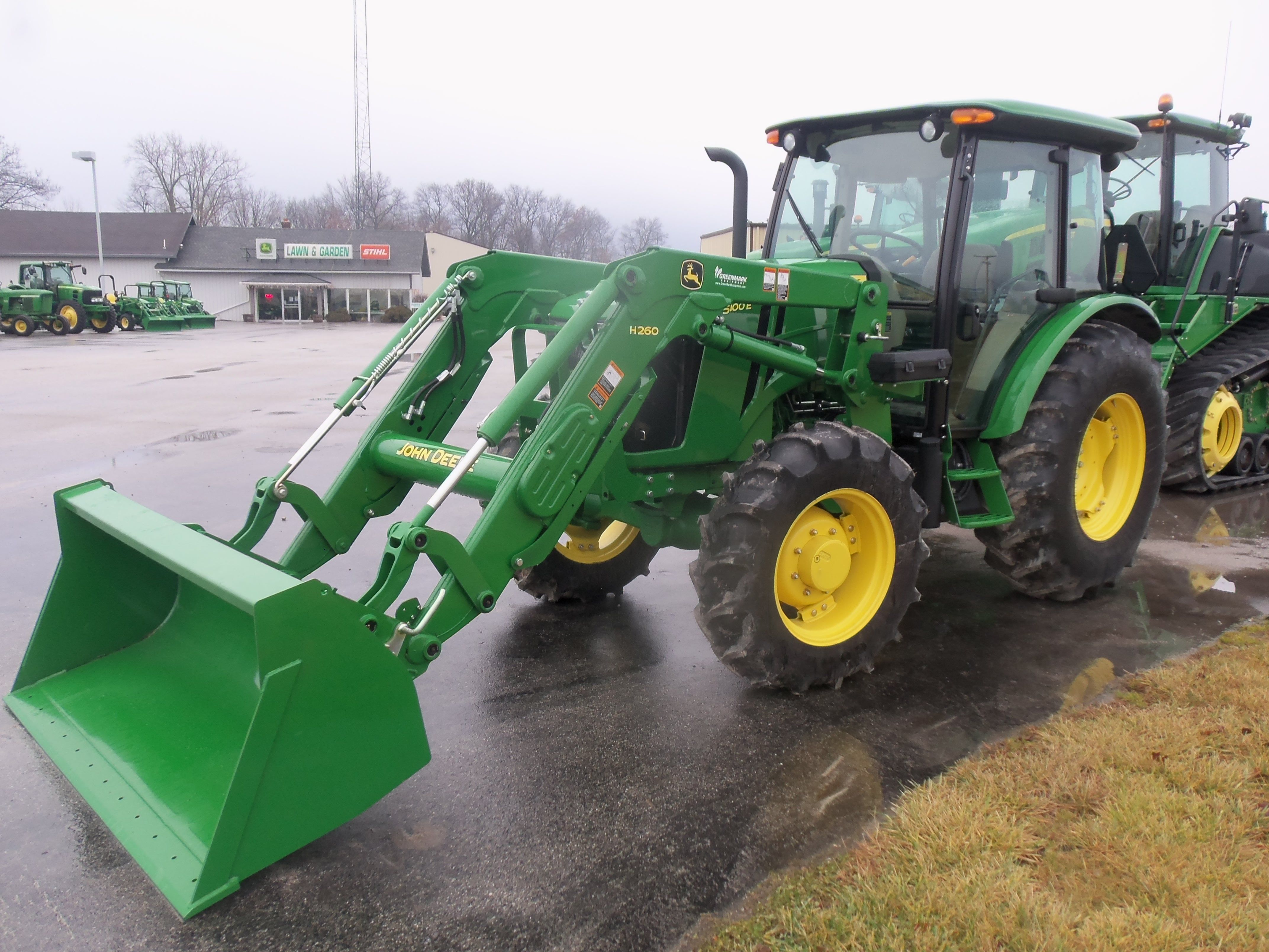 John Deere 5100E cab tractor with H260 loader