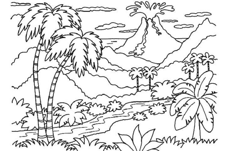 Hawaiian Volcano Coloring Pages Coloring Pages Nature Beach