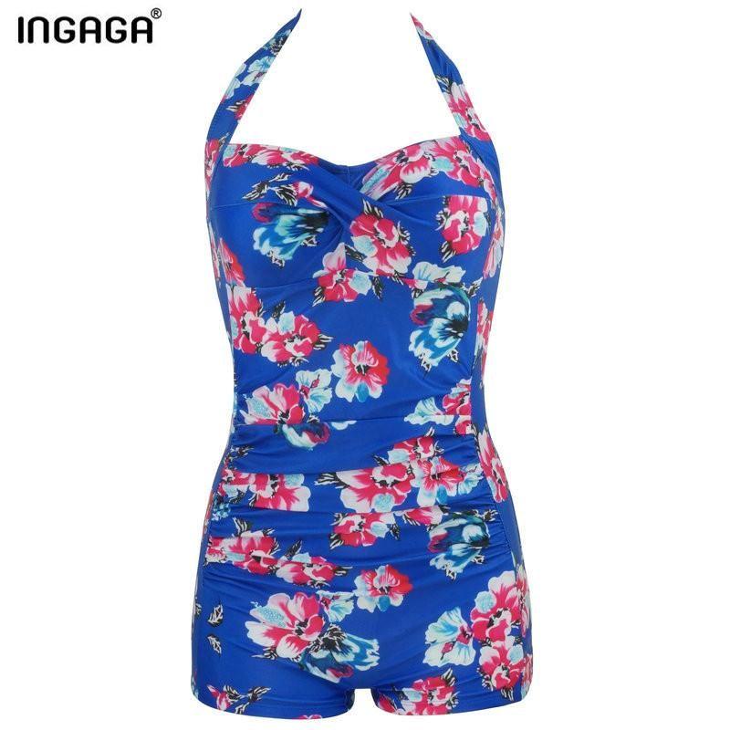 INGAGA One Piece Swimsuit Swimwear Women New 2017 Halter Straight Vintage Swim Wear Padded Floral Bathing Suits
