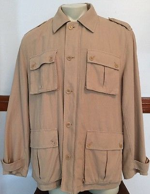 JOSEPH-ABBOUD-Jacket-Coat-Mens-Beige-Cotton-Linen-Long-Sleeve-Zip-Up-Jacket-L