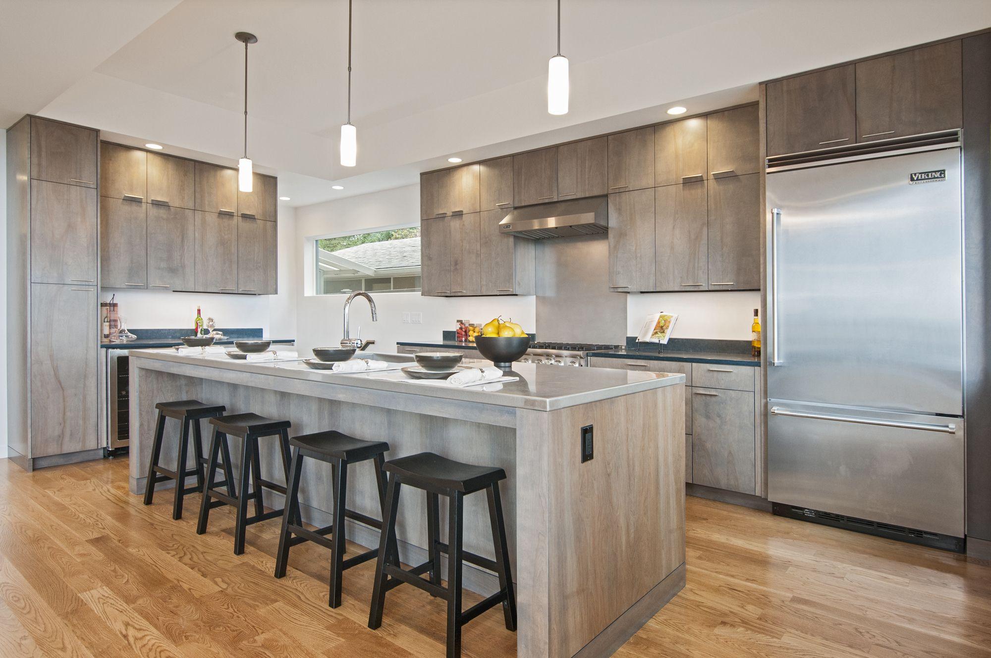 Kitchen Island Full Overlay Birch stained custom Gray