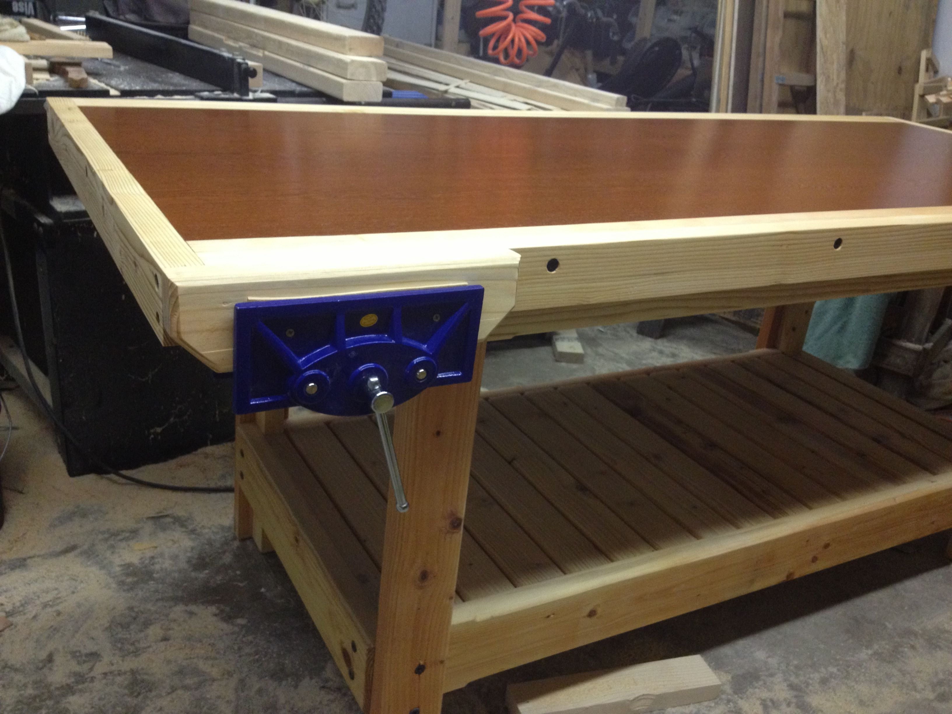 My Home Built Workbench Out Of Solid Core Door And 2 By