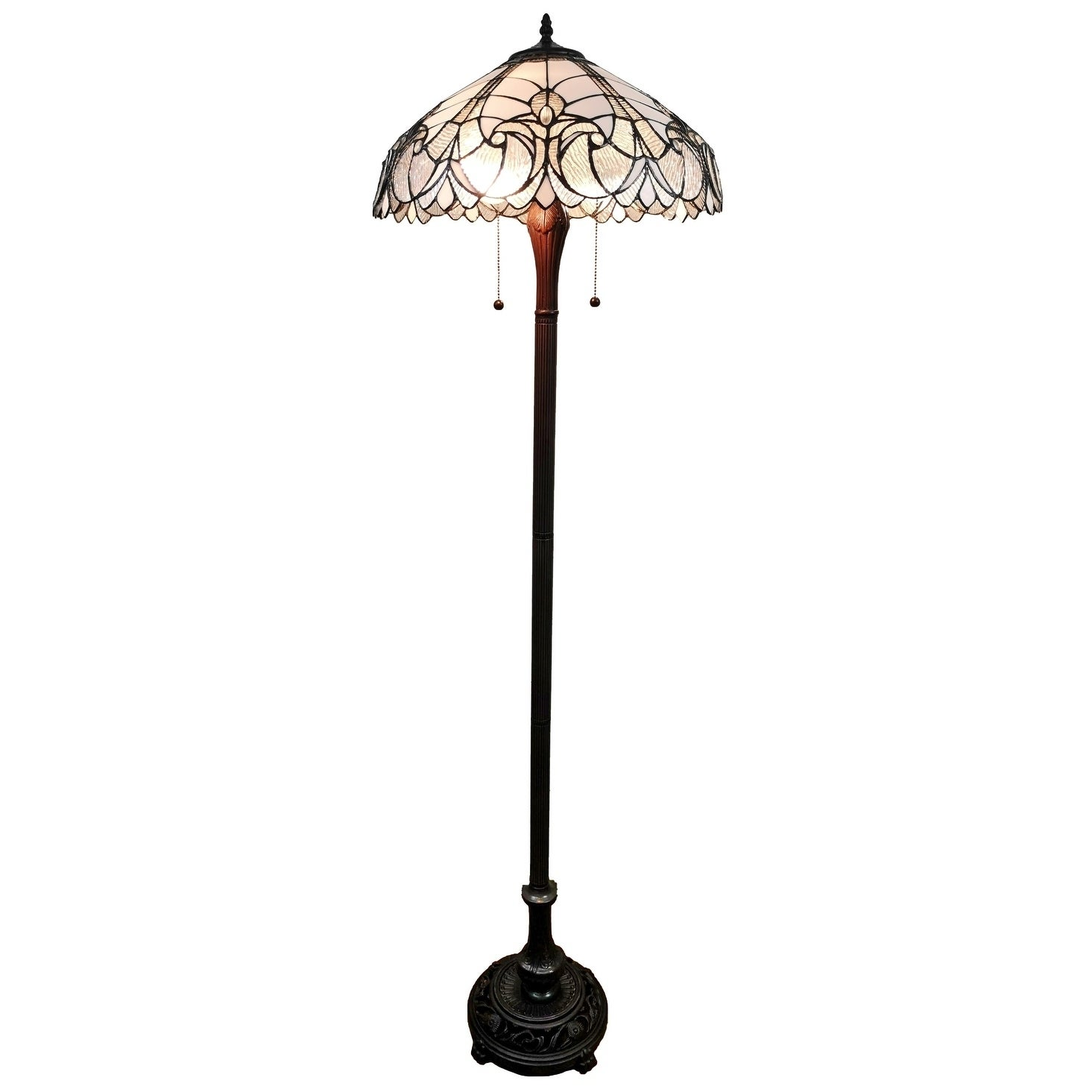 Amora Lighting Tiffany Style Floral Floor Lamp 62 Inches White