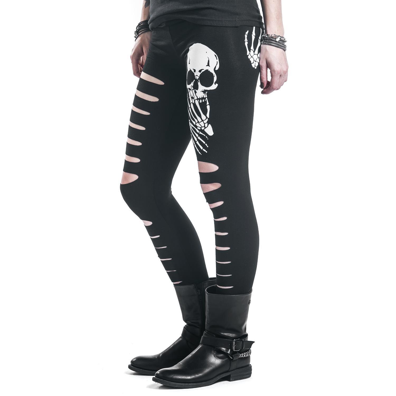 Banned Slashed Skull Leggings Negro PB8LO