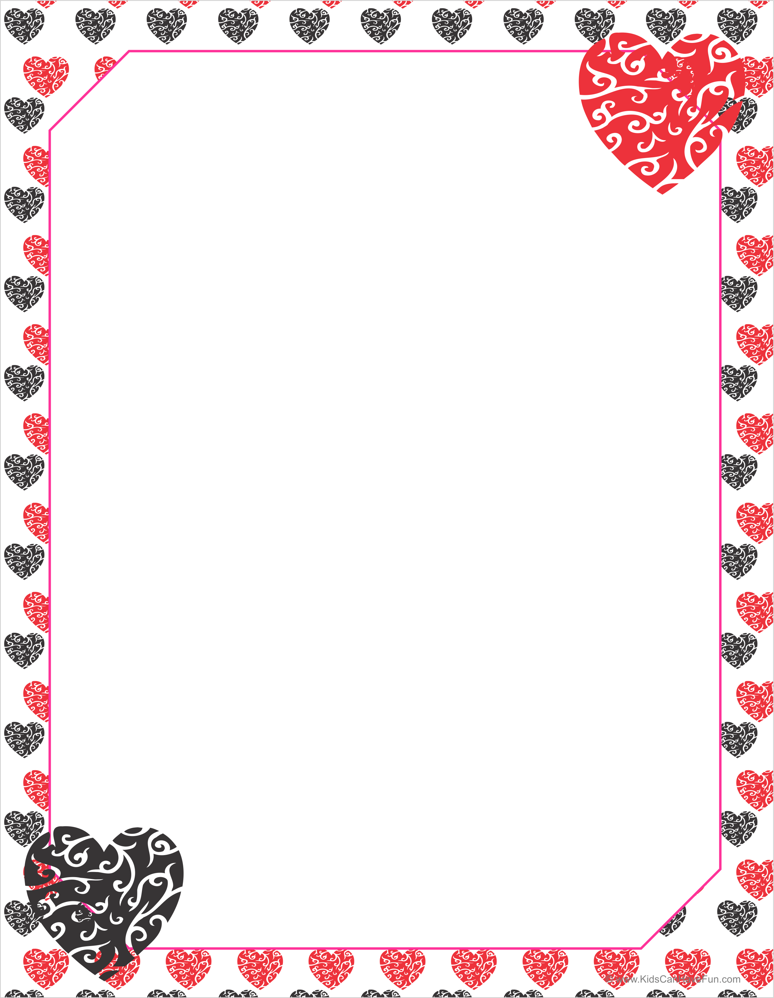 Free Red Amp Black Hearts Valentine Writing Paper