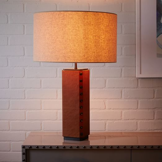 Leather Nailhead Table Lamp Saddle Lamp Table Lamp Indoor Lighting Fixtures