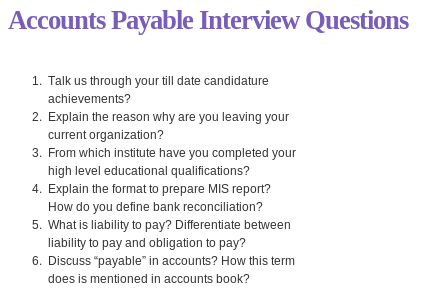 Accounts Payable Interview Questions Read More  HttpWww