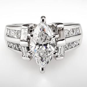 marquise diamond engagement rings with baguettes - Marquise Diamond Wedding Ring