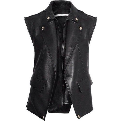 Givenchy black leather biker vest