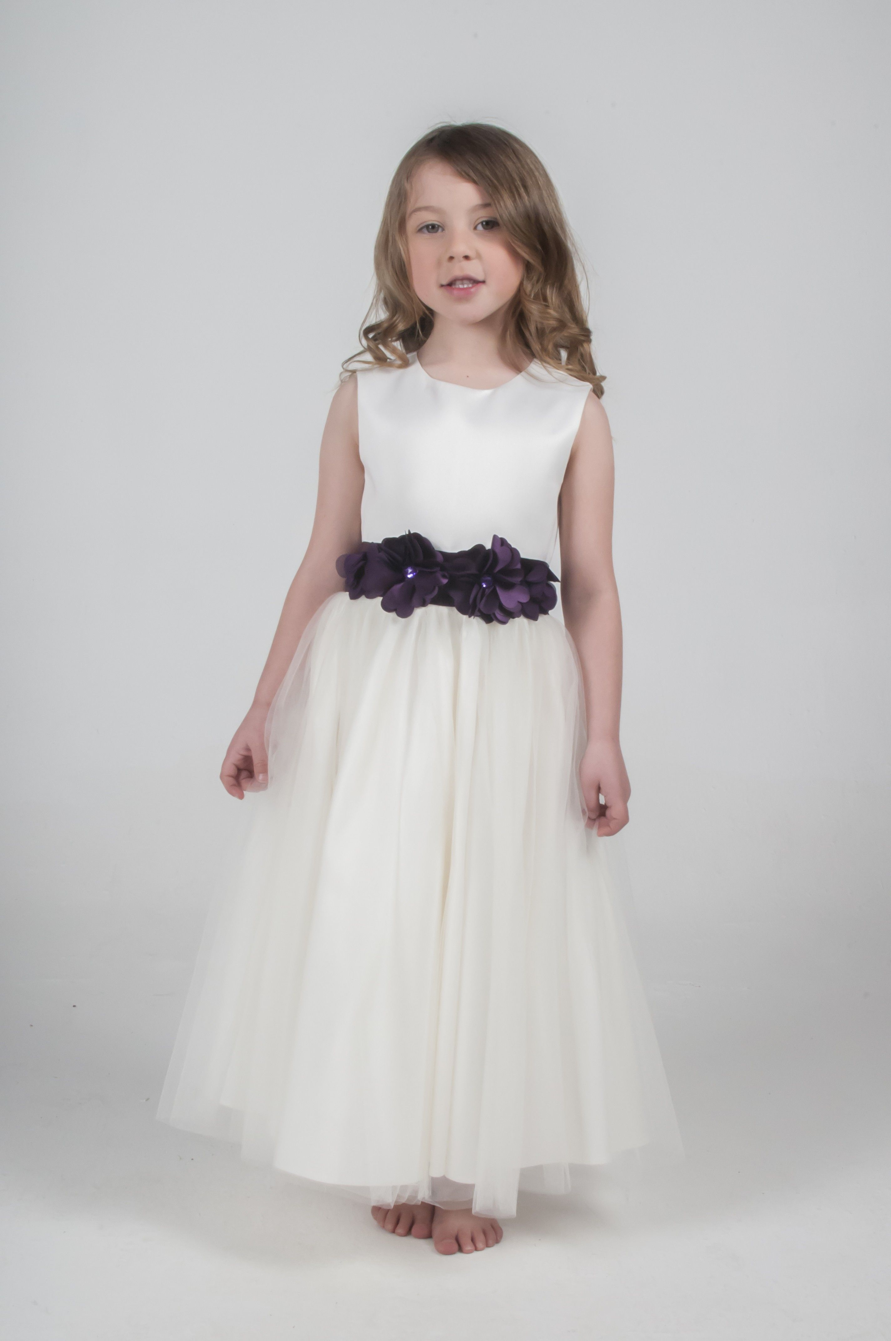 Ivory Purple Flower Dress Bridesmaid Party Flower Girl Available