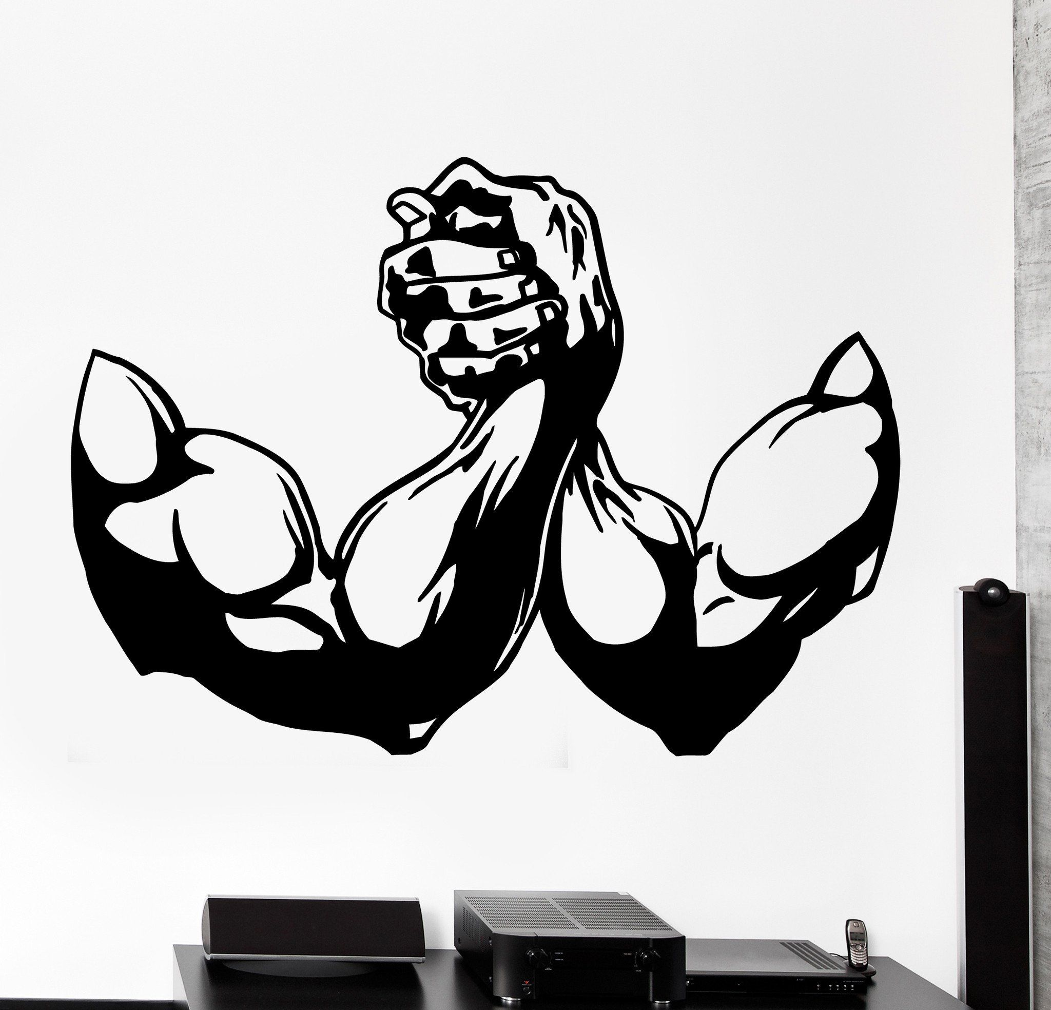 Wall Vinyl Decal Arm Wrestling Sport Bodybuilding Home