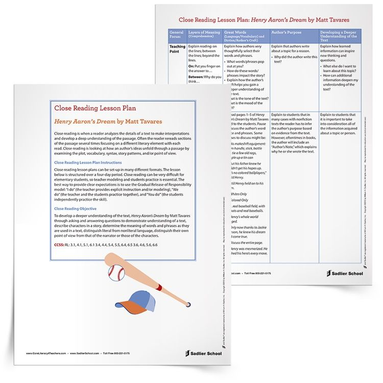 Close Reading Lesson Plan Template Henry Aarons Dream 750px School