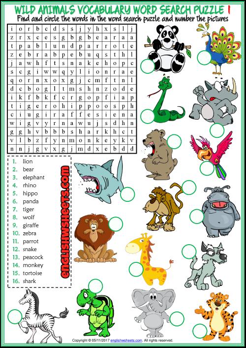 Wild Animals Word Search Puzzle Esl Printable Worksheets Animal Worksheets English Worksheets For Kids Animals Wild