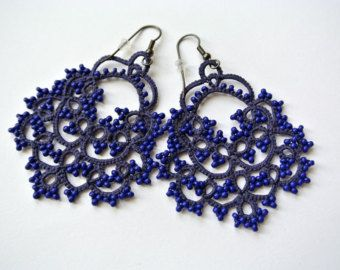 Marsala tatting lace earrings made in italy tatted lace earrings navy blue tatted chandelier earrings made in italy von ilfilochiaro aloadofball Image collections