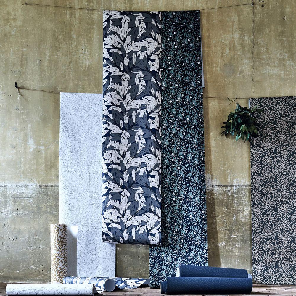 Papier peint intissé motif laurier blanc et noir 10m – Alinéa