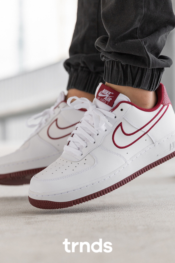 Nike Air Force 1 '07 Leather WhiteTeam Red for Men. The