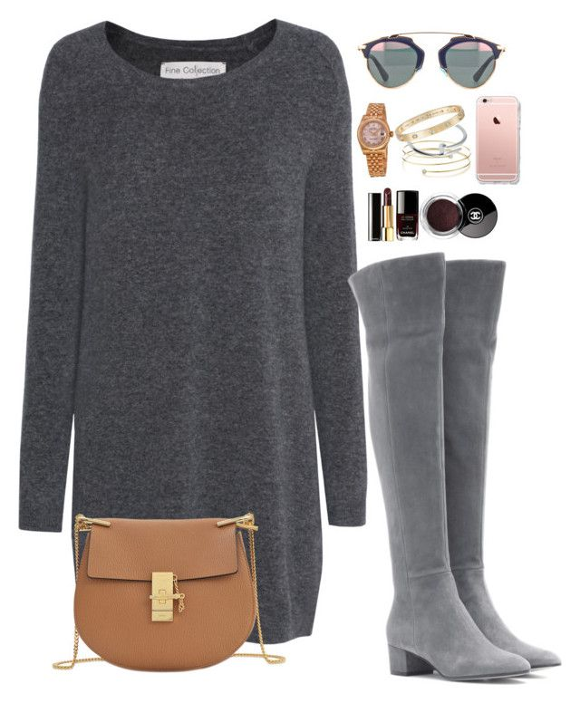 """""""sweater and boots weather"""" by kayceelovesyou1234 ❤ liked on Polyvore featuring Fine Collection, Gianvito Rossi, Chloé, Rolex, Elsa Peretti and Cartier"""