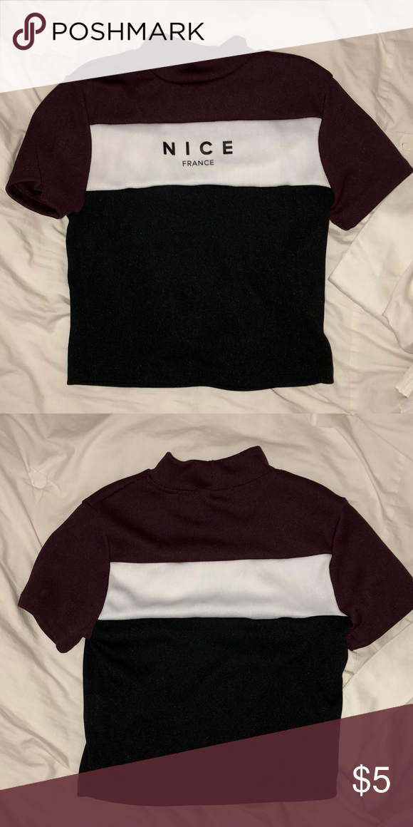 "c4741987aa9 F21 Crop Top maroon white and black crop top , ""NICE FRANCE"" written on  front Forever 21 Tops Crop Tops"