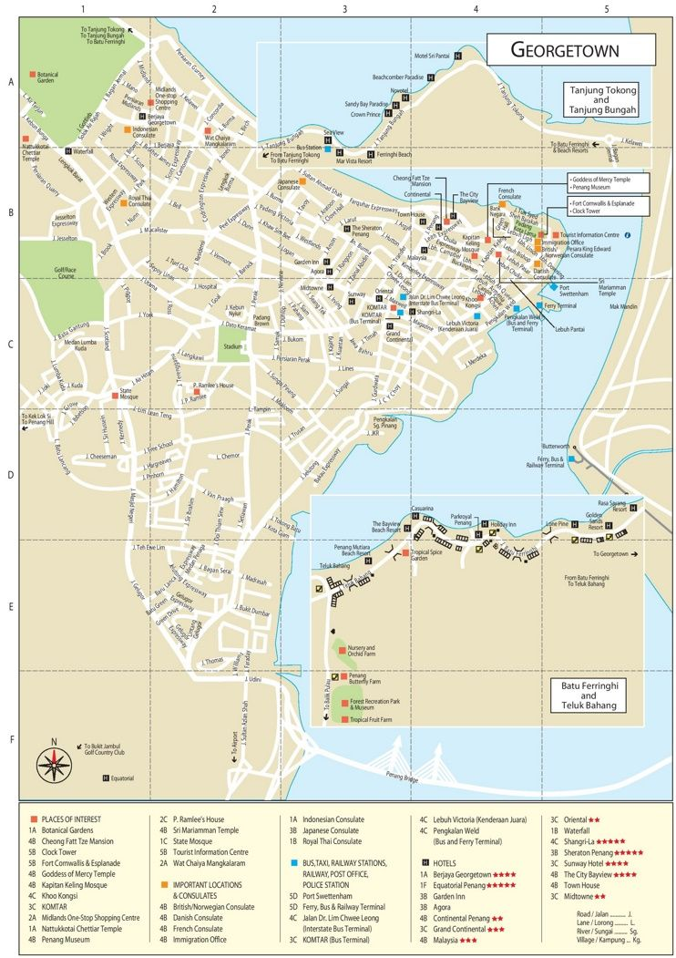 George Town tourist attractions map Maps Pinterest George town
