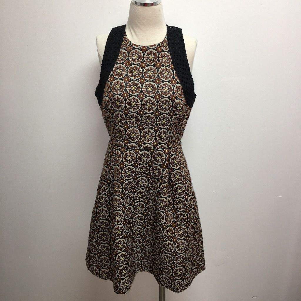 H&M Brown & Yellow Pattern Dress With Black Accent