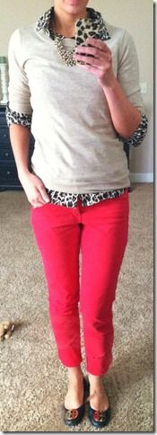 Fall/spring casual: Leopard button-down shirt, camel Tippi crewneck, red skinny pants (love!)