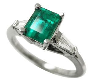 Emerald Cut Rings Princess And Baguettes Diamonds Colombian Ring Emeralds