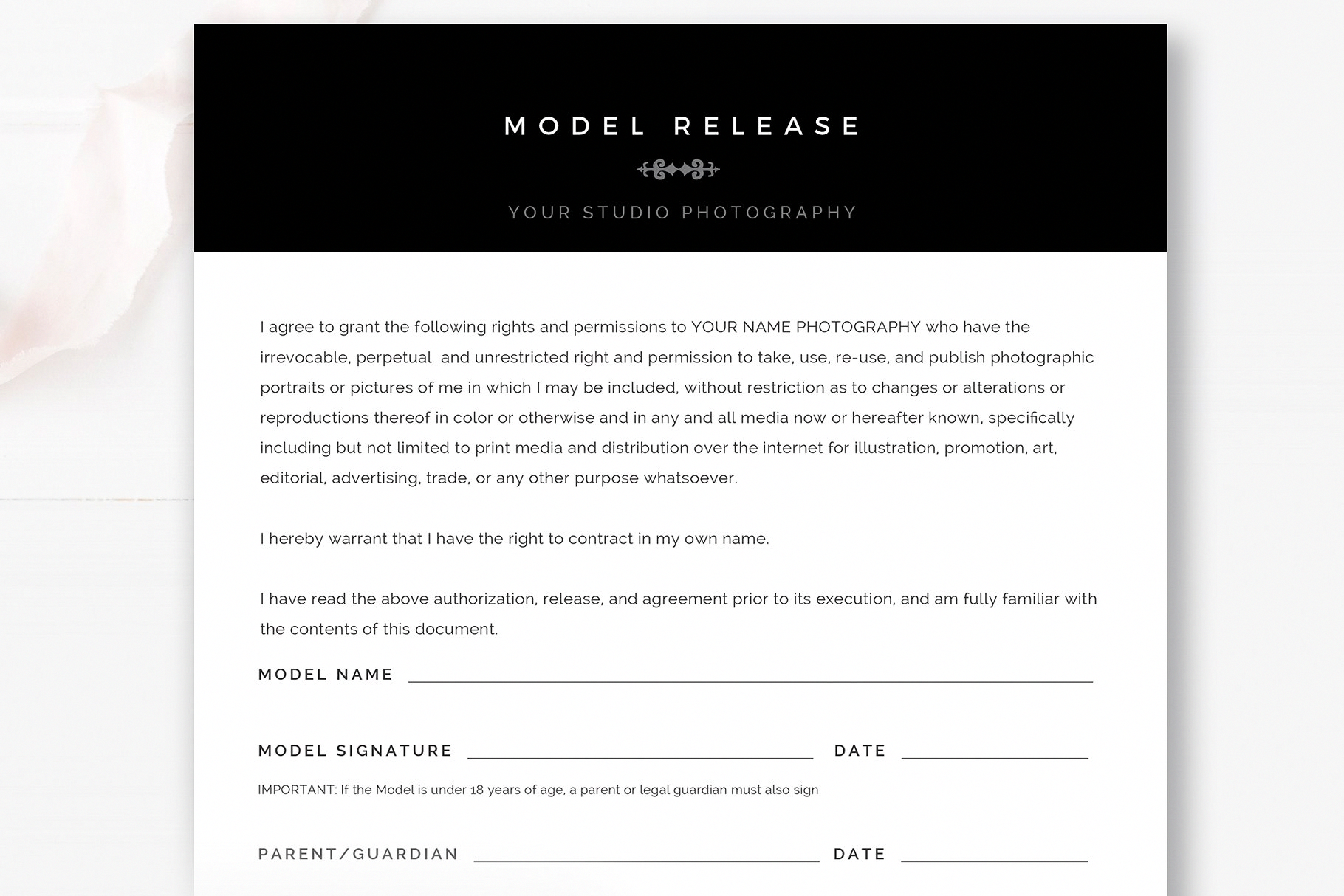photography model release form  photoshop  u0026 ms word