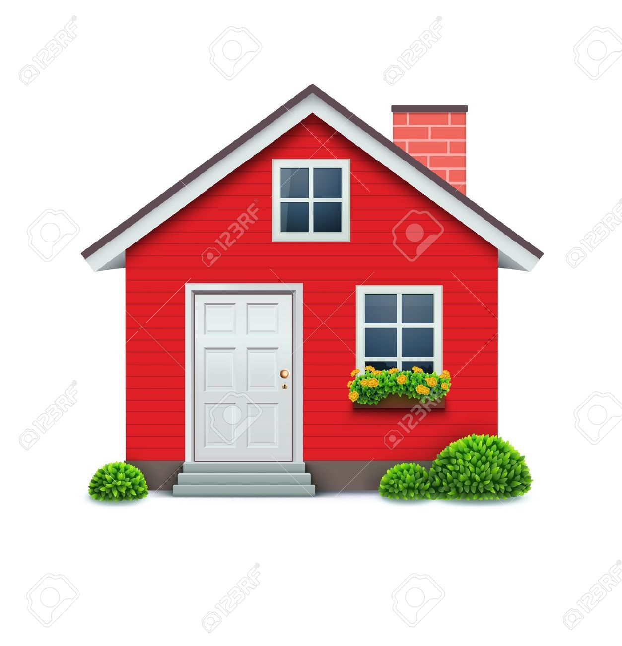 Casa roja sobre fondo blanco. Ilustraciones Vectoriales, Clip Art Vectorizado.