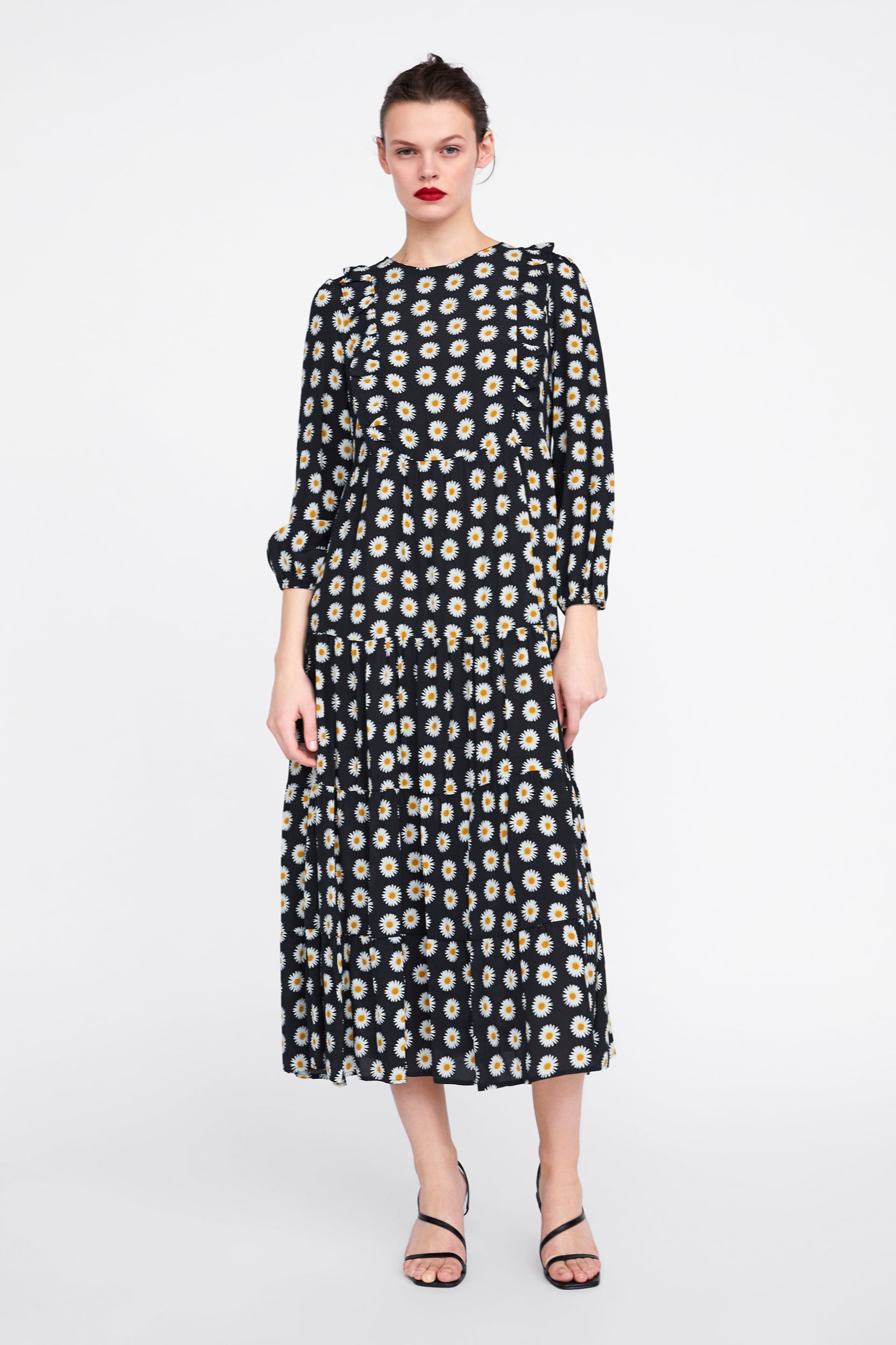 Ruffled Floral Print Dress View All Dresses Woman Zara South Africa Long Sleeve Floral Dress Floral Print Dress Print Dress