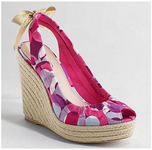 Pink Multi Signature Logo Coach Maritza Platform Wedges Espadrilles Shoes 9.5 #Coach #PlatformsWedges
