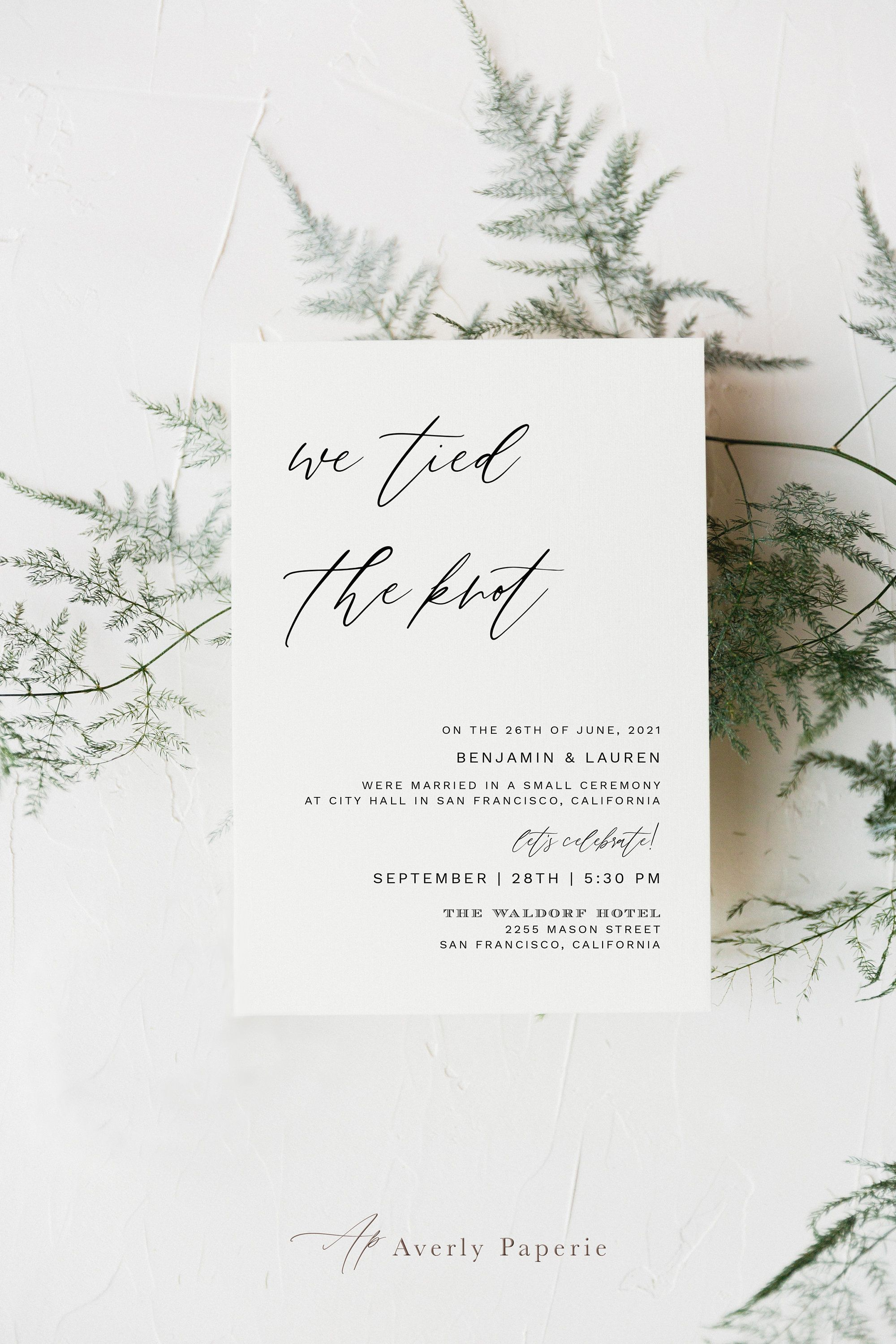 We Tied The Knot Wedding Announcement Template, Simple