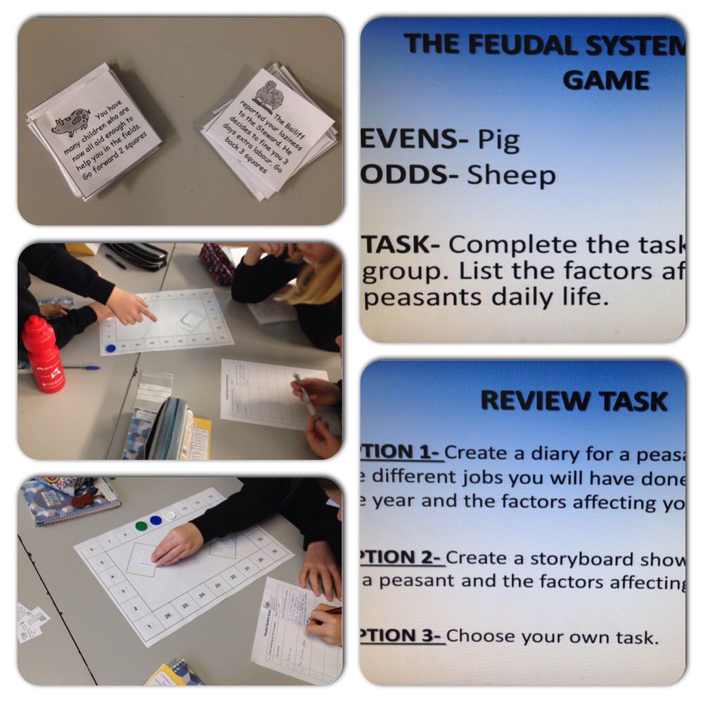Feudal System board game. Students experience the life of