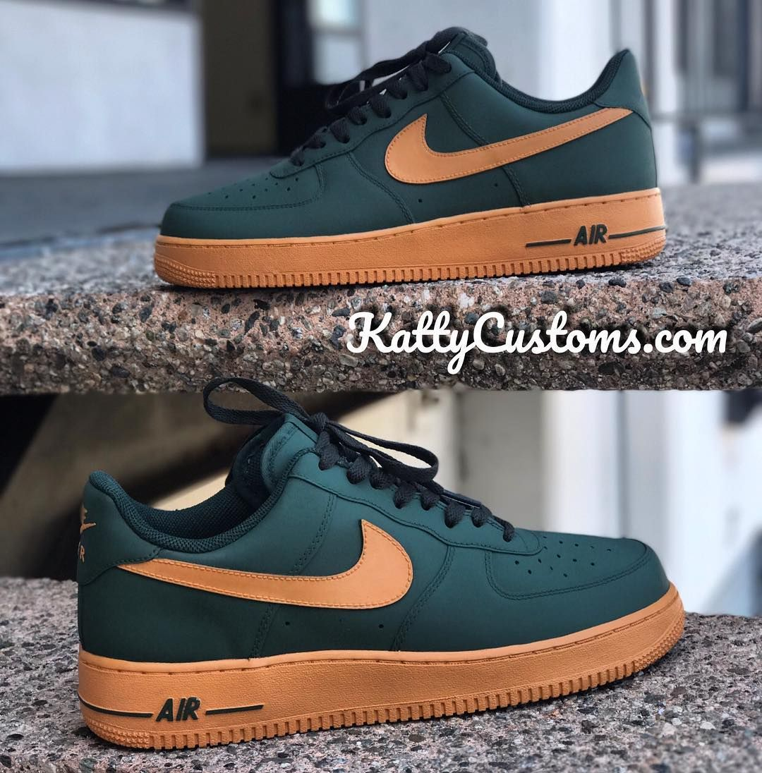 """868748069a9 Katty Customs on Instagram  """"Most Requested color way of all time 🙌🏾 Custom  Nike Af1s. Made for  Unrly1. Visit KattyCustoms.com or Text 424-335-3158 to  ..."""