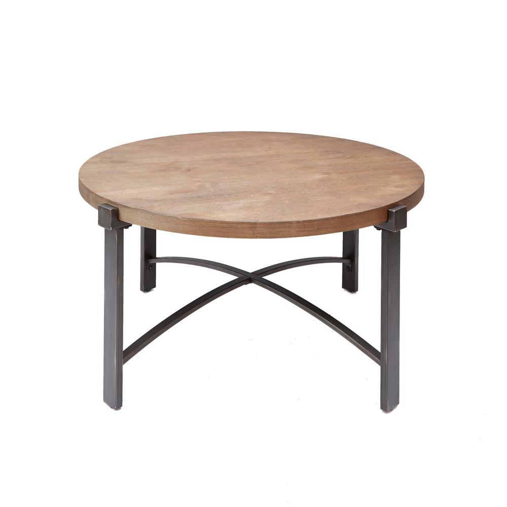 Silverwood Furniture Reimagined Lewis 38 In Brown Gray Medium Round Wood Coffee Table Cpft1276cofrwo The Home Depot Distressed Coffee Table Round Wood Coffee Table Coffee Table Wood [ 1000 x 1000 Pixel ]