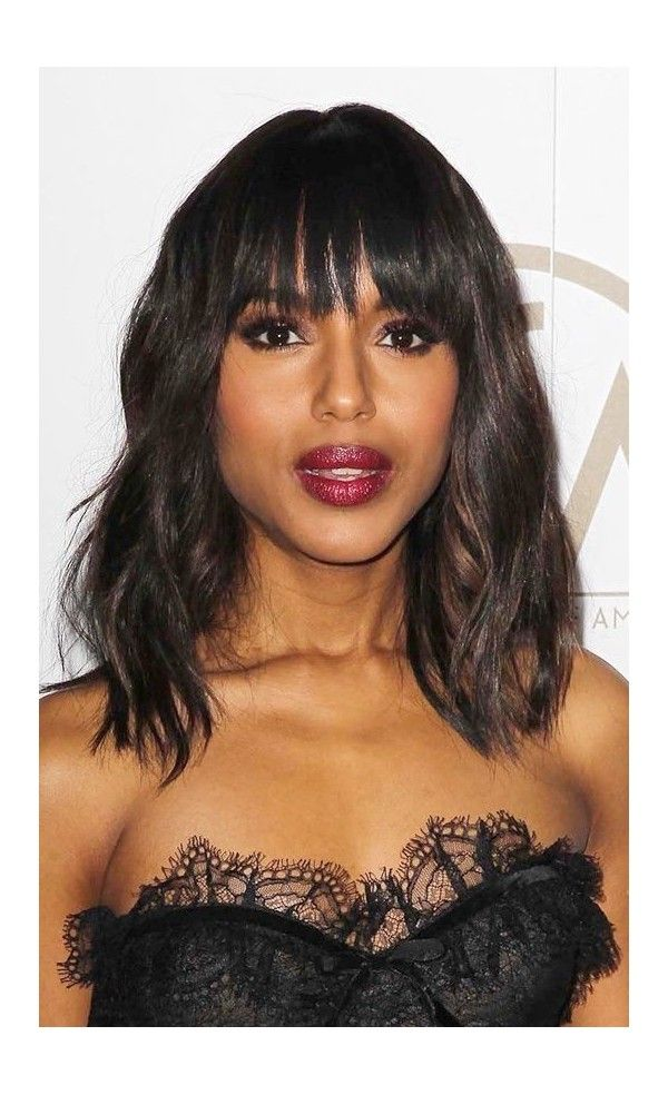 Kerry Washington Graceful Wavy Custom Full Lace Human Hair Wig With Bangs Inspired