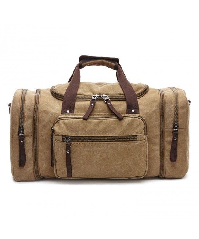 03fb347149b9 Canvas Weekend Tote Bag Extra Large Weekender Luggage Travel Duffle Bag for  Men Women - Khaki - CG182WZND6X  Bags  handbags  gifts  Style  Duffle Bags