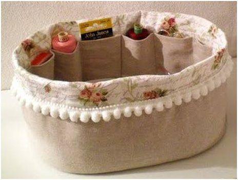 Canasta de Costura Vintage Organizador de canastas de Costura Caja de Almacenamiento de Kit de Costura de Doble Capa con Bandeja extra/íble artesan/ía de Tela
