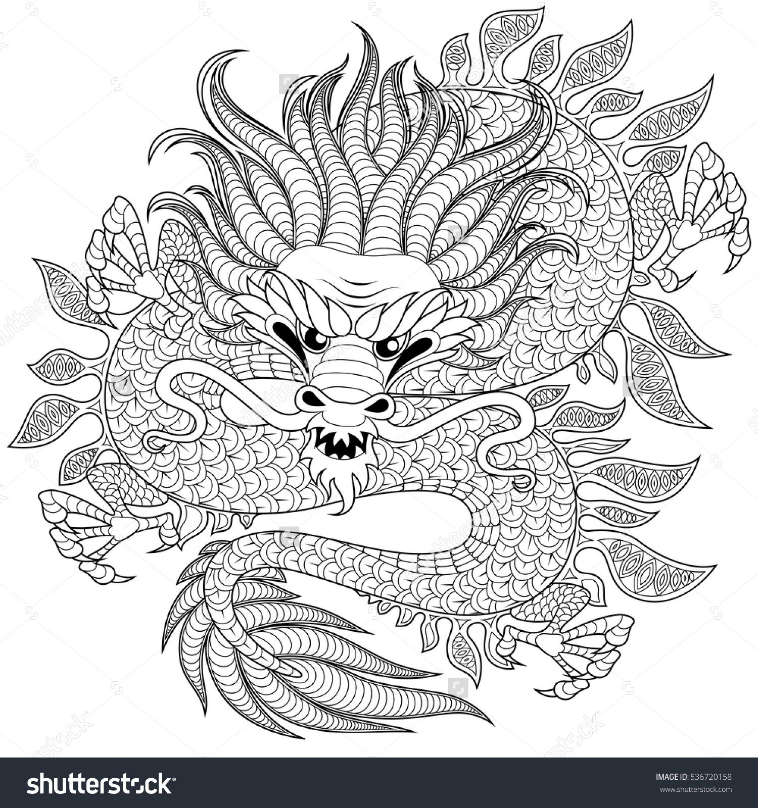 Chinese Dragon In Zentangle Style For Tatoo Adult Antistress Coloring Page Black And White Hand Drawn Doodle Book Stock Vector