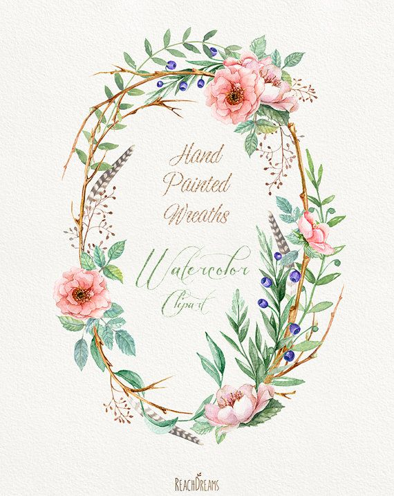 Watercolour Flower wreaths with Floral elements and Feathers ...