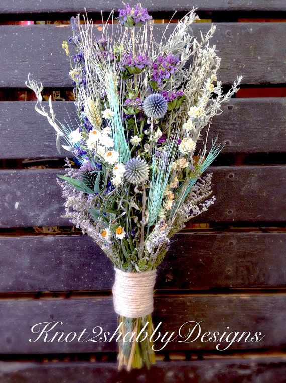 Dried flower bouquet thistle bouquet by Knot2ShabbyDesigns   wedding ...