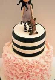 Black and white striped pink ruffle cake
