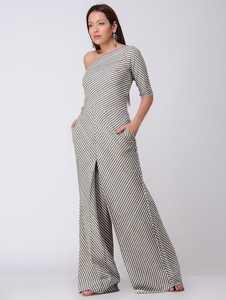 561626cbb66f Buy Beige Handwoven Organic Khadi Jumpsuit Women Dresses Monochrome  Intrigue Contemporary apparel in Chanderi and matka silk Online at  Jaypore.com