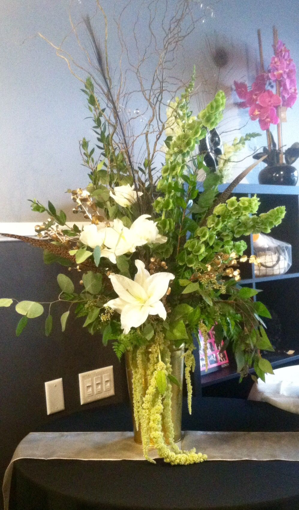Hanging Amaranthus white stargazer lilies white roses
