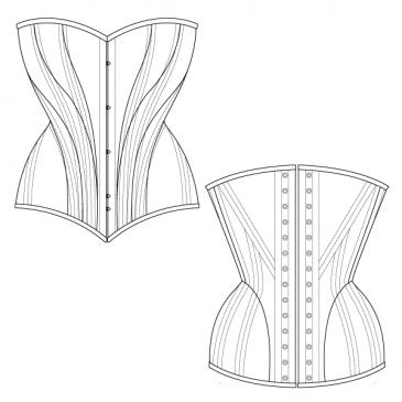 free corset pattern  hip curve corset  corset/bodice