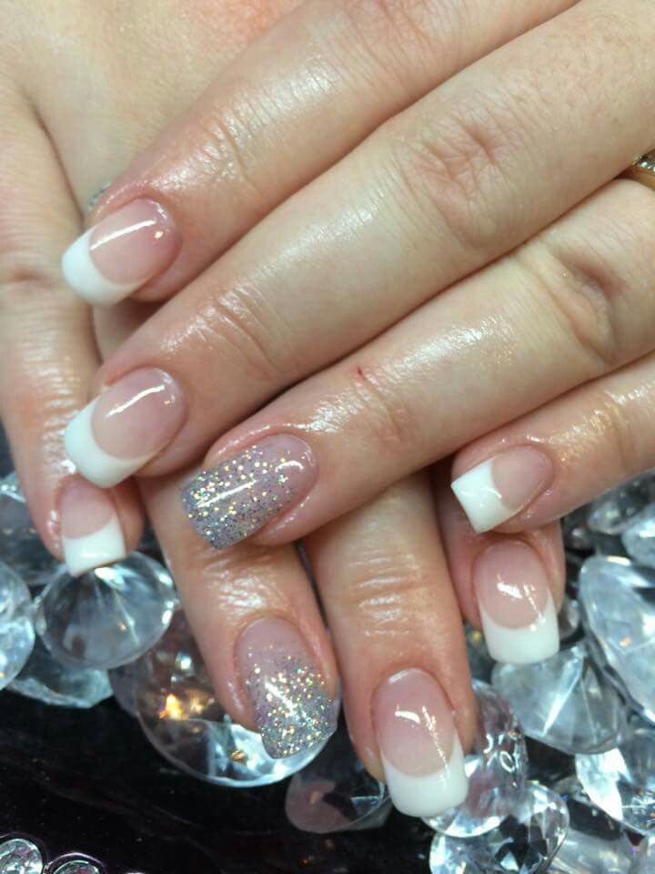 Classic french tip gel nails with a feature glitter fade nail ...