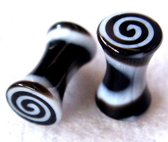 ONE PAIR 8g 6g 2g 0g 00g 12mm Snail Double Flare Ear Plugs Ring Earlet Earrings lobe Body Piercing on Etsy, $2.50