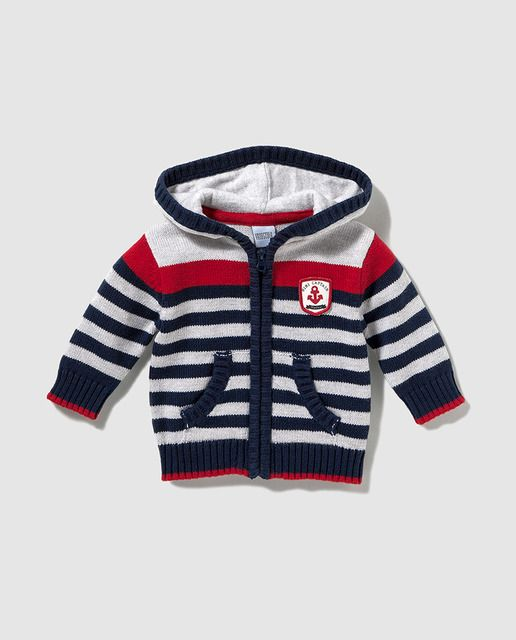 5d62903b4 Chaqueta de bebé niño Freestyle de rayas con capucha | tejidos bebe ...
