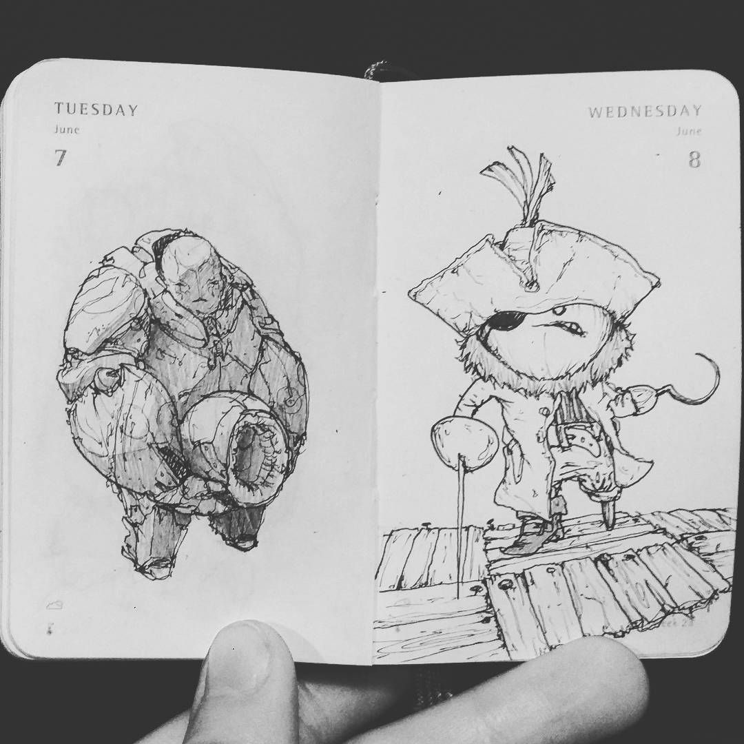 Today's and yesterday's #TinyDailySketch #daily #drawing #sketchbook #sketch #penandpaper #ink
