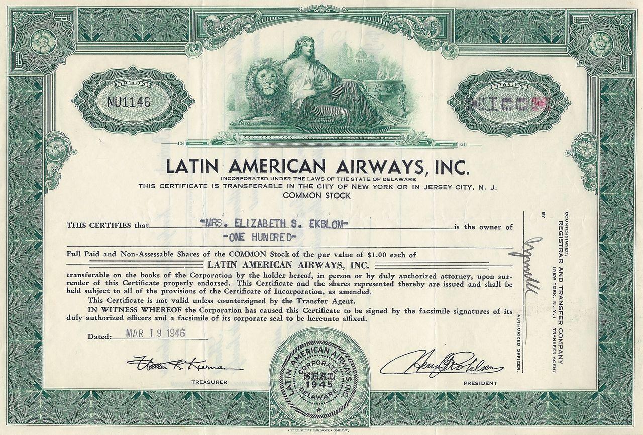 Latin American Airways Inc 1946 American Common Stock