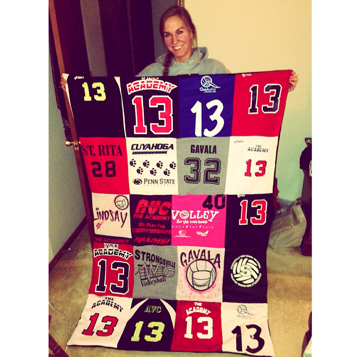 Volleyball Blanket Made Out Of All My Old Jerseys And Tshirts Volleyball Themed Room Volleyball Jerseys Volleyball Shirts